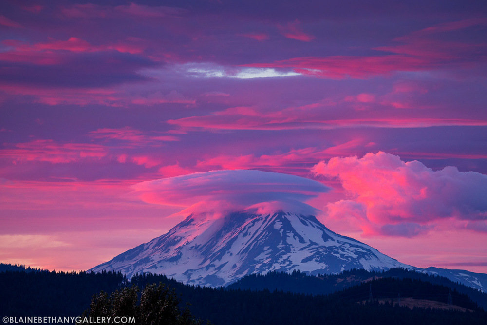 Mt Adams Lenticular Cloud Sunset
