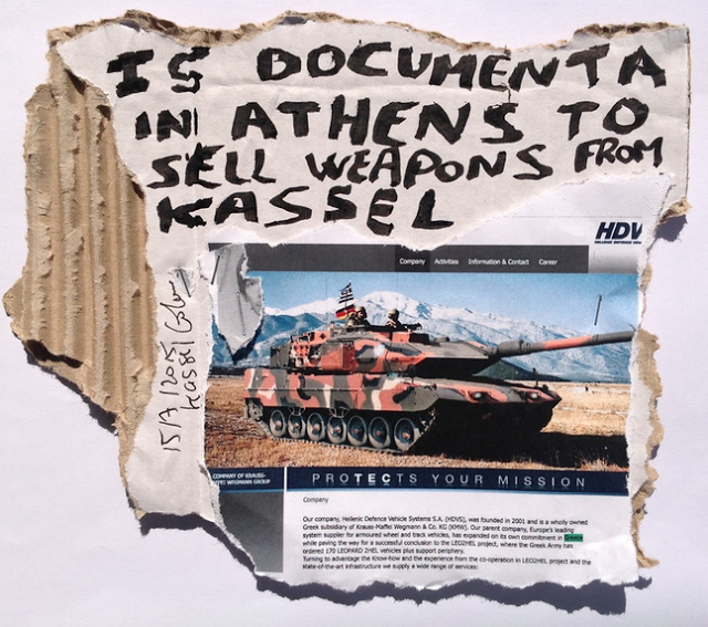 Is documenta in Athens to sell weapons from Kassel