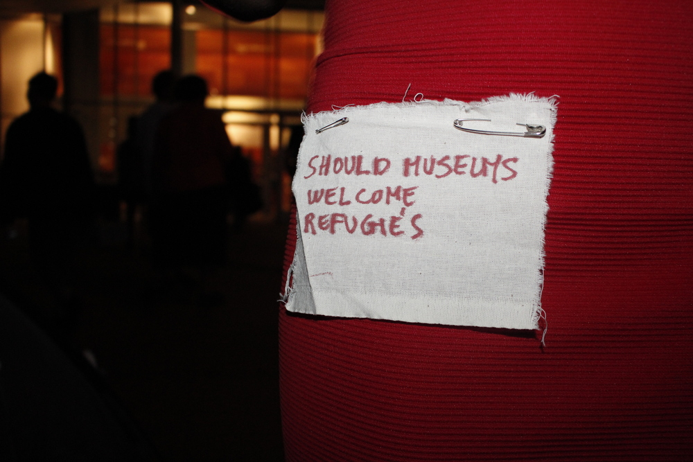 Should museums welcome refugees? 22/08 2015  , red marker on cotton textile