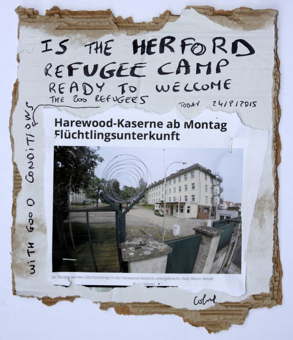 Is the Herford refugee camp ready to welcome the 200refugees? 24/8/2015  , carton, 12 x 9 cm