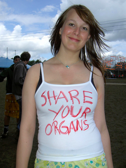 2004, Share your organs, Roskilde Festival, photos. From the series PROTEST UNDERWEAR.