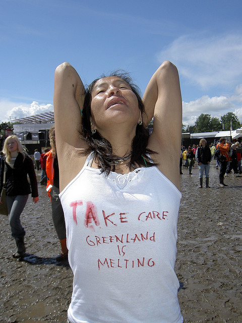 Take care Greenland is melting , 2004, Roskilde Festival, photos.   From the series PROTEST UNDERWEAR.