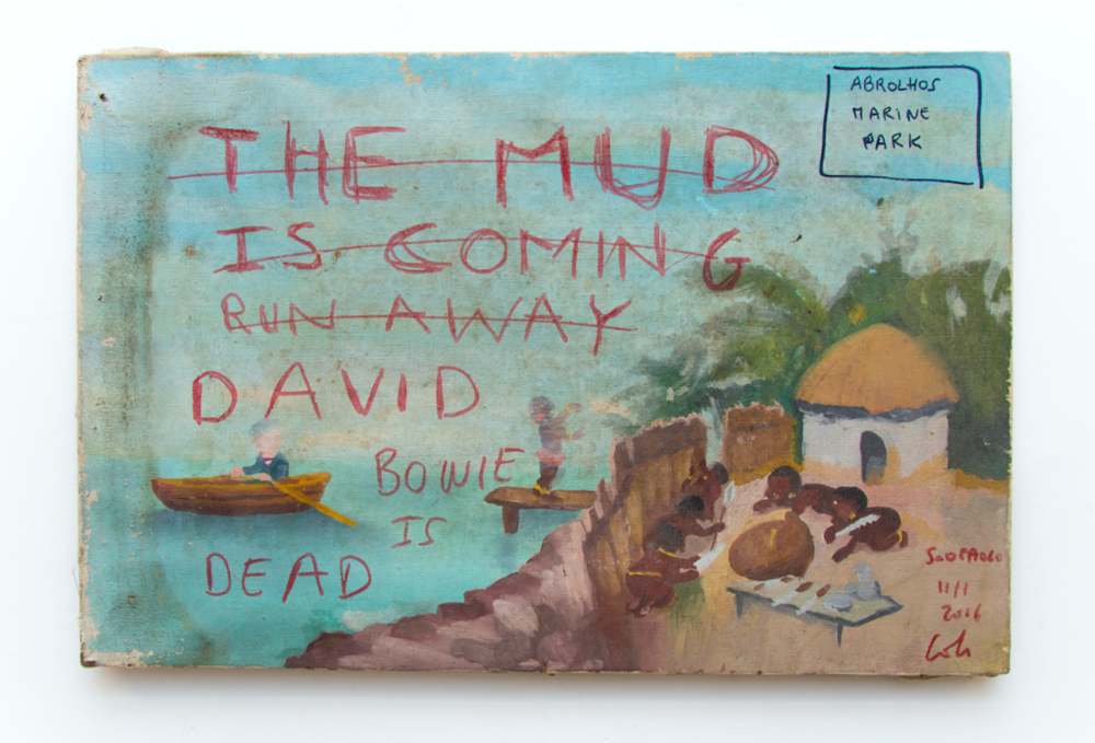 ABROLHOS MARINE PARK/ (THE MUD IS COMING! RUN AWAY!) / DAVID BOWIE IS DEAD, 11/1 2016, 60 x 40 cm, red marker on a painting
