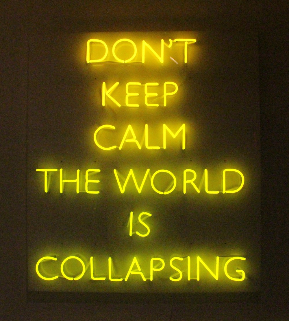 Dont keep calm the world is collapsing , 2016, Color: Novial Gold, Dimensions: 100 cm x 110 cm Edition: 5 + 2AP