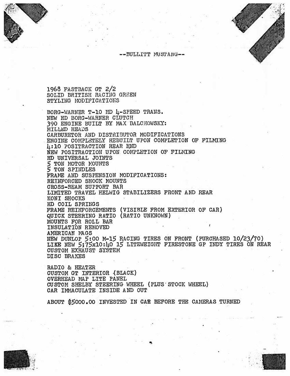This is the list of features Robert Ross wrote to describe Bullitt #559 when he offered it for sale. Property of Frank Marranca