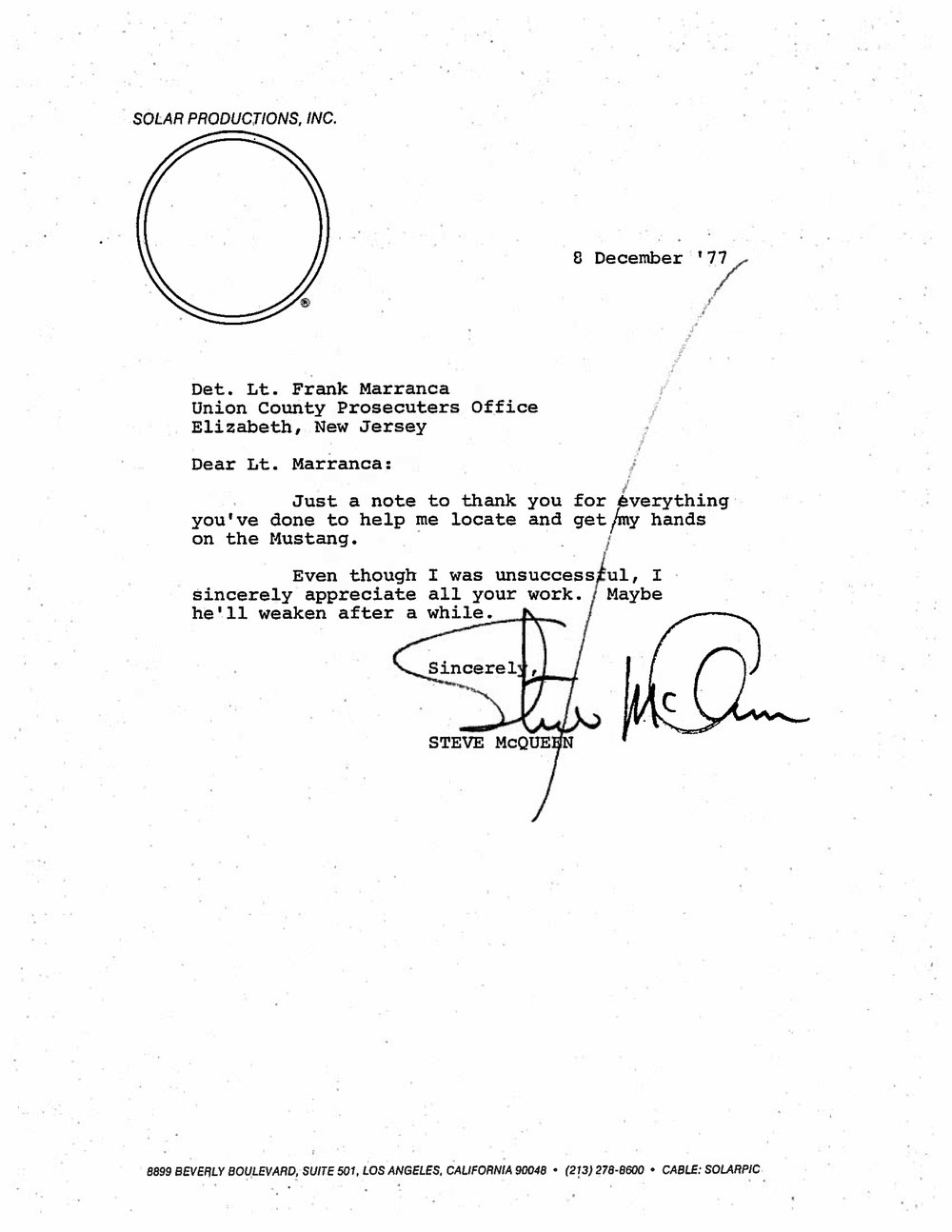 Steve McQueen contacted Frank Marranca three years after Marranca sold #559. Property of Frank Marranca