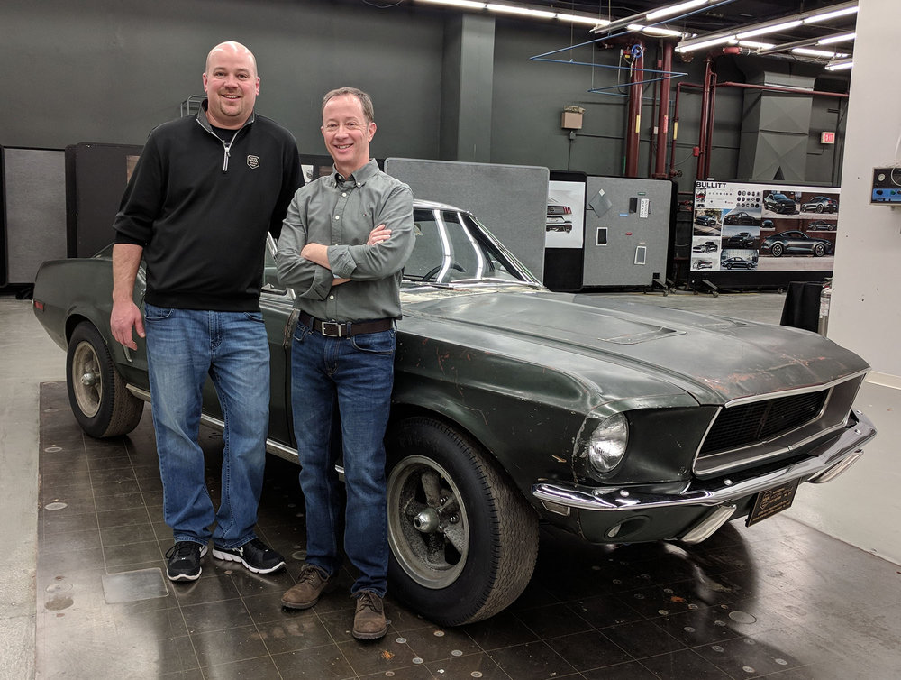 Deep underground at Ford's Product Development Center (PDC) in Dearborn, I met Bullitt Mustang #559 and its owner in person for the first time. The date was Jan. 11, 2018. I also got to view the 2019 Bullitt limited edition model, which had not be shown to the public yet.  Property Brad Bowling