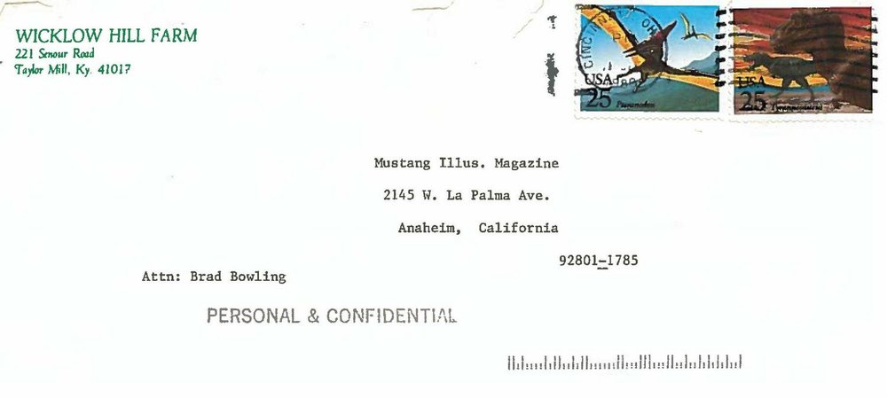This envelope contained what would become the first pages of my Bullitt Mustang document collection.  Property Brad Bowling