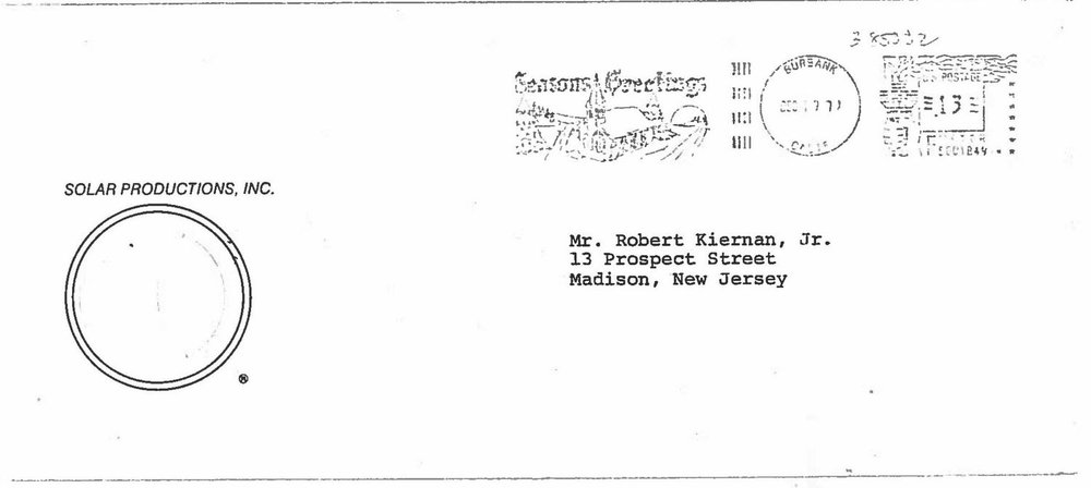 In this envelope, Bob Kiernan received a letter from Steve McQueen asking to buy back #559.  Property Bob Kiernan Family
