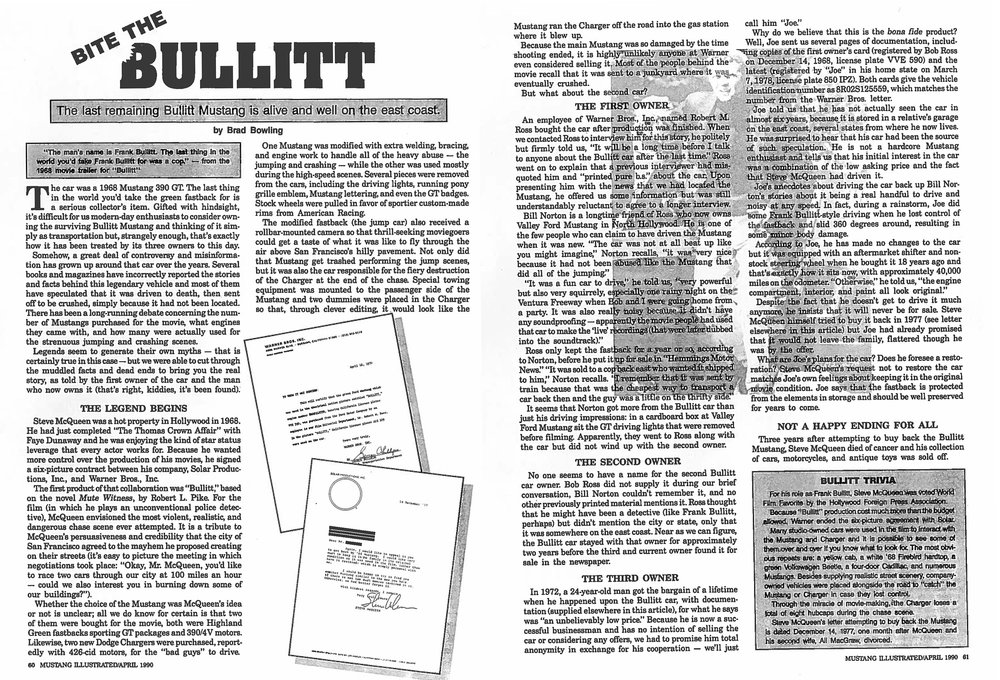 Here is the first article I wrote about the Bullitt Mustang after interviewing Bob Kiernan in 1989.