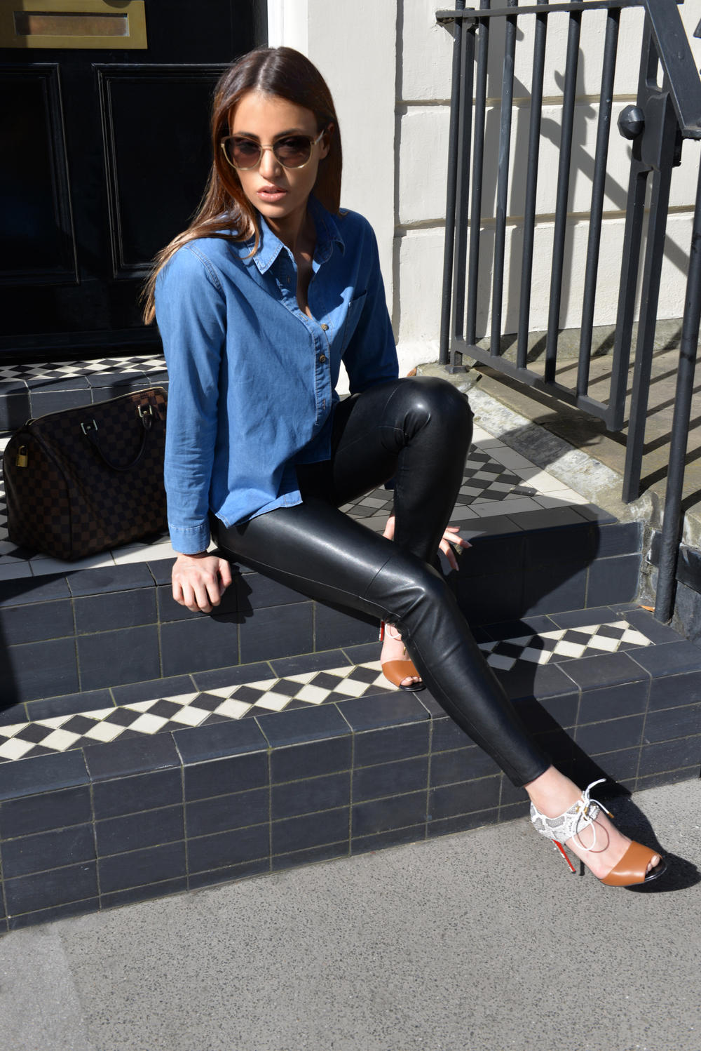 photo (4) The Vanillawoods Maureen Sophie Kragt, leather pants, denim shirt, skinny jeans, Christian Louboutin Mayerling heels. Best Fashion Blog, personal style blog London
