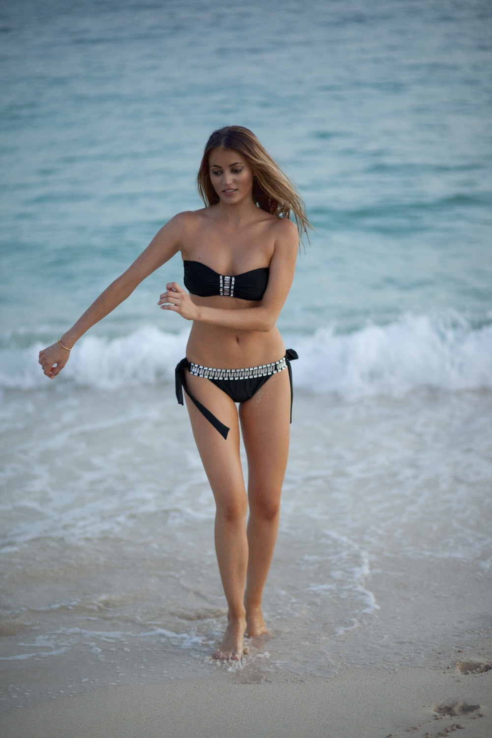 photo (3) Fashion Blogger, Maureen Sophie Kragt photographed on Mullet Bay Beach in St Maarten, caribbean. She is wearing a black embellished Ana Azur bikini, in a S/M size.