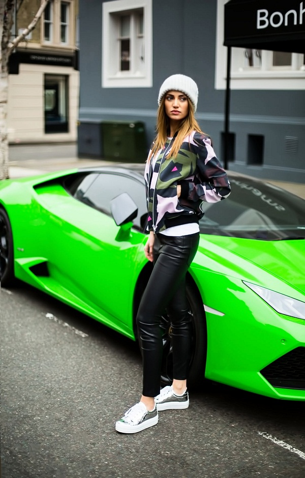 photo 3 spotted in this streets of knightsbridge, fashion blogger Maureen Sophie Kragt in high-waisted leather pants, oversized white t-shirt, tribal bomber jacket and mirror platform sneakers