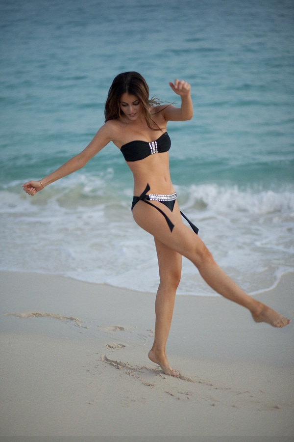 photo (2) Fashion Blogger, Maureen Sophie Kragt photographed on Mullet Bay Beach in St Maarten, caribbean. She is wearing a black embellished Ana Azur bikini, in a S/M size.