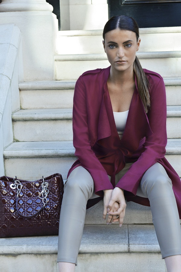 FASHION INFLUENCER & BLOGGER,   MAUREEN SOPHIE KRAGT IS WEARING: BURGUNDY ZARA TRENCH, AMERICAN APPAREL TANK TOP, TAUPE LEATHER PANTS, LADY DIOR HANDBAG, ADIDAS STAN SMITH SNEAKERS. WWW.THEVANILLAWOODS.COM