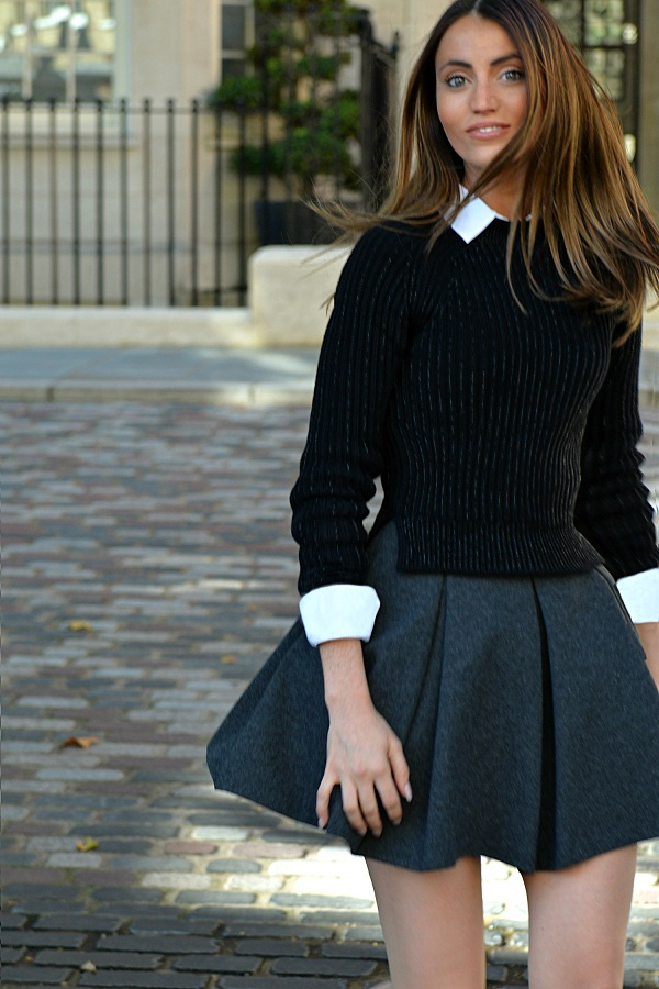 BACK TO SCHOOL: BLAIR WALDORF STYLE, UNIFORMS TRENDS BY MAUREEN SOPHIE KRAGT BLOGGER FROM THEVANILLAWOODS.  SKIRT & WHITE SHIRT BY ZARA, SNEAKERS BY JIMMY CHOO. photo (3)