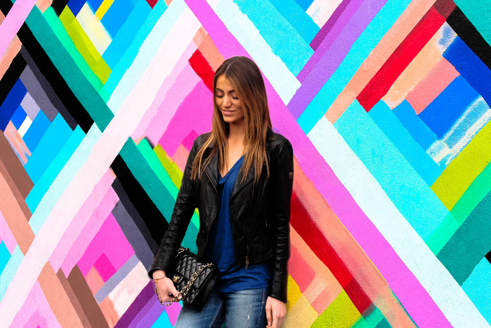 photo 1: WYNWOOD ART DISTRICT: MAYA HAYUK REVISITED by Maureen Kragt. London based Blogger. Effortless chic style in the Wynwood Neighbourhood, Miami. Leather Jacket, Dark skinny jeans, deep V-neck T-shirt, colette nike street shoes and classic chanel bag.