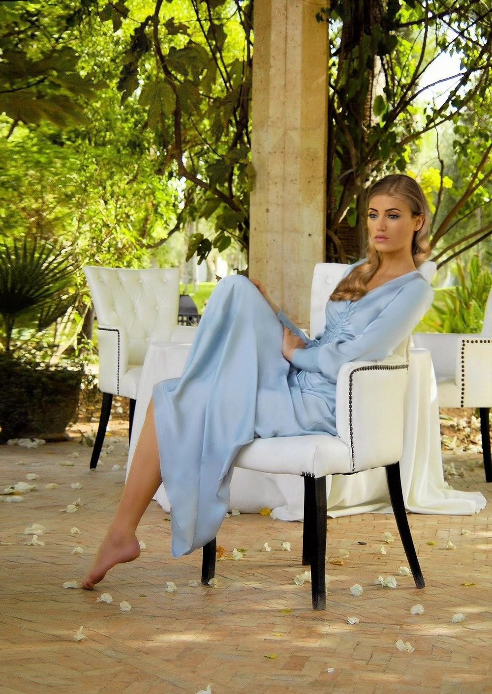 Maureen Kragt. London Blogger. Sky blue Ghost Dress by Ghost. Shot by Palais Rhoul, Marrakech.  (1)
