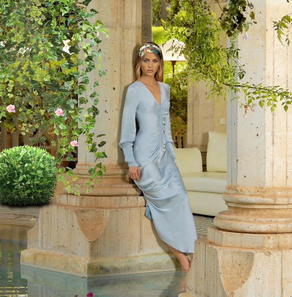 Maureen Kragt. London Blogger. Sky blue Ghost Dress by Ghost. Shot by Palais Rhoul, Marrakech. (2)