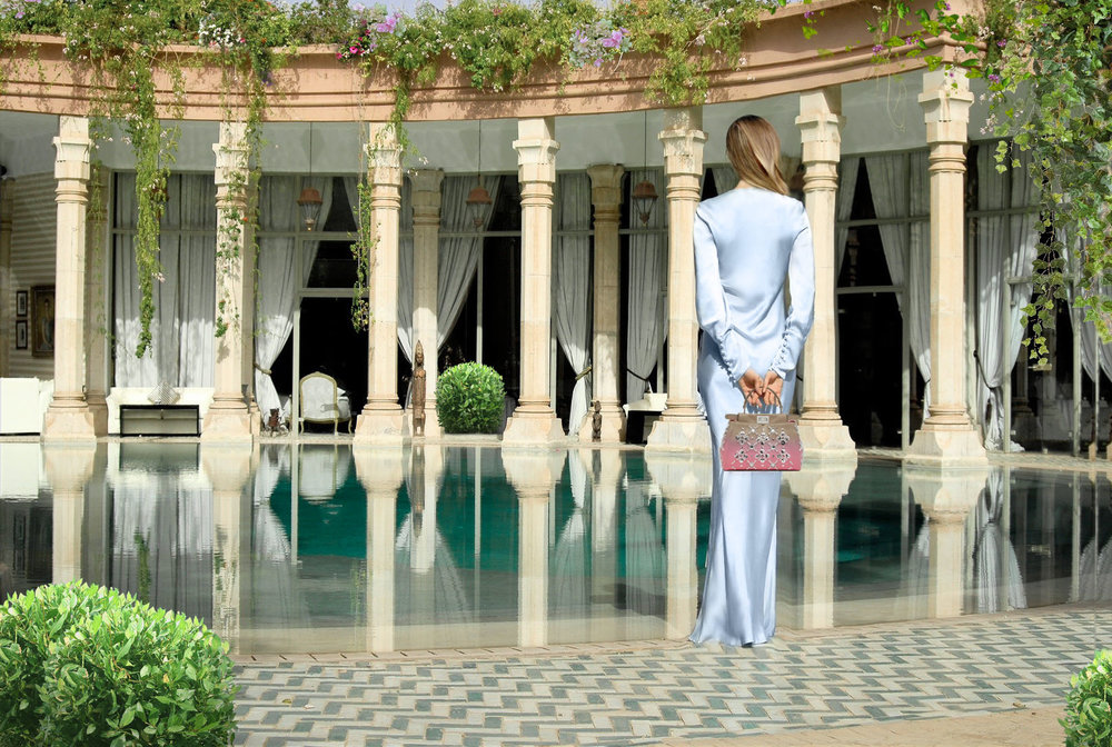 Maureen Kragt. London Blogger. Sky blue Ghost Dress by Ghost. Shot by Palais Rhoul, Marrakech. (3) www.thevanillawoods.com