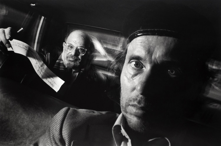 Self-Portrait with Passenger Allen Ginsberg, 1990. (Copyright Ryan Weideman, Courtesy Bruce Silverstein Gallery, New York)
