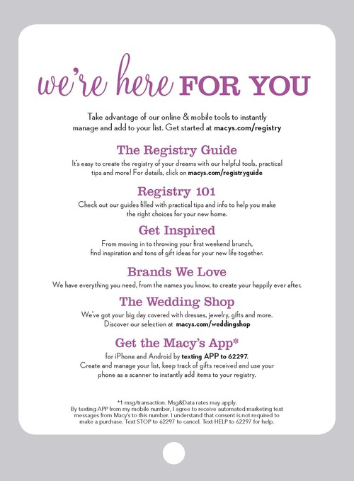it covers the many benefits of the macys wedding gift registry program along with the essentials for any wish list