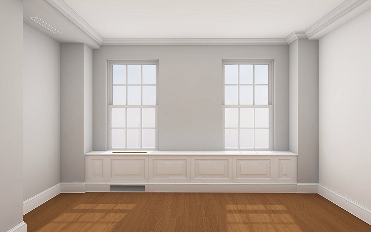 Rendering (in ArchiCAD) of proposed window base cabinet - Sutton Place South Coop Renovation, currently in construction.