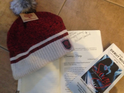 My signature over my story, a SWAY card, and a canadian toque