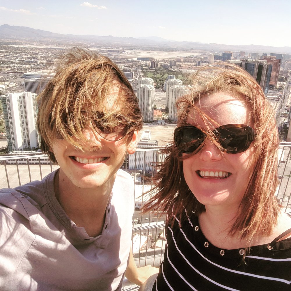 My friend Lindsay and I enjoying the view from atop the Stratosphere in Las Vegas!