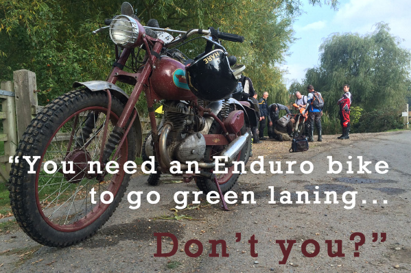 A days green laning with Herts TRF on a vintage steed lined up against modern plastic enduro machines.   -