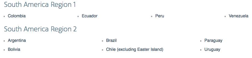South American Regions 1 & 2 definitions