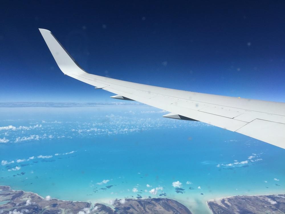 Crossing over the beautiful Bahamas.