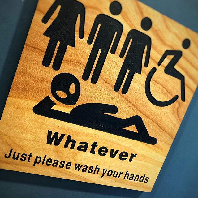 #restroom #signage #win #whenyougottagoyougottago #men #women #whatever #everybody #tothepiont #graphicdesignwin #graphicdesign