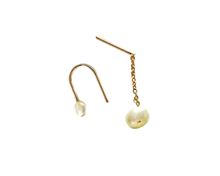 Natural Pearl and 14k gold