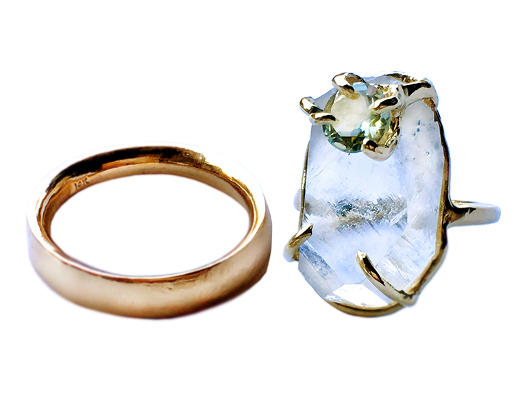 Quartz, Green Amethyst and 14k gold wedding set