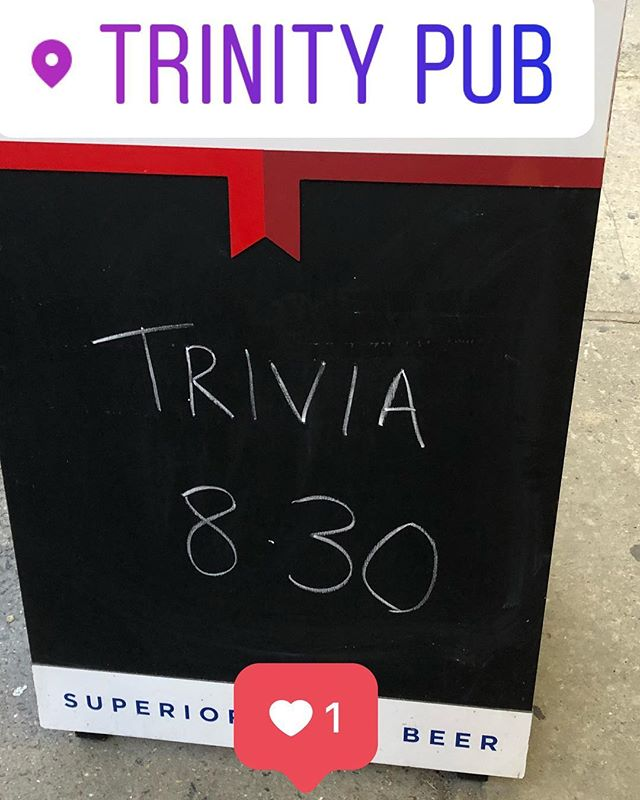 We got you covered tonight!!!!! Trivia starts @8.30, free to play and $50 gift cert for the winning team. Celtics and Cavs 🏀, 🏒 game 6 and drink specials all night long . What more do you need 😀 See you all later #newyorktrivia #trinity #uppereastside #happyhour #monday #sunsout #pints