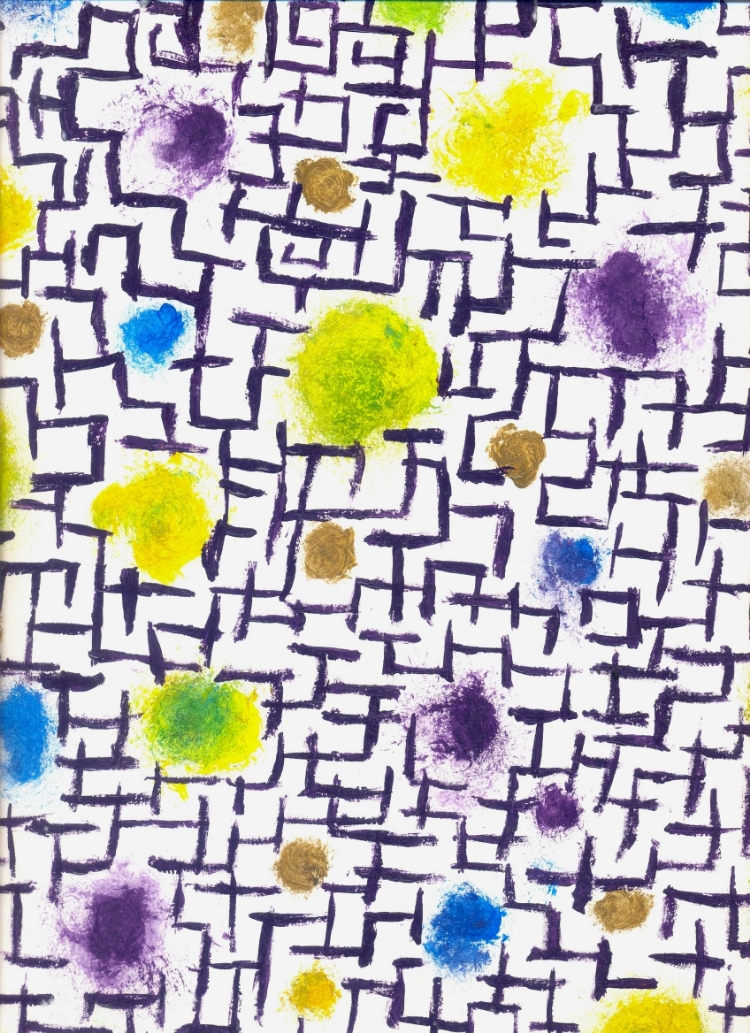 1.  Labirinto  (2001, óleo sobre papel)