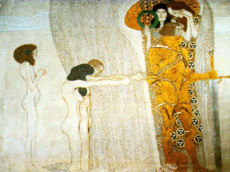 Mais um detalhe de 'Friso de Bethoven' (1902)  , de Gustav Klimt