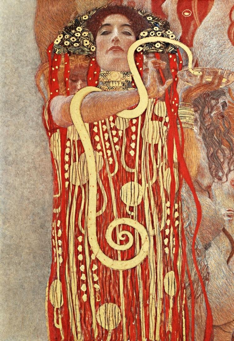 Hygieia, em detalhe da obra  'Medicina' , de Gustav Klimt
