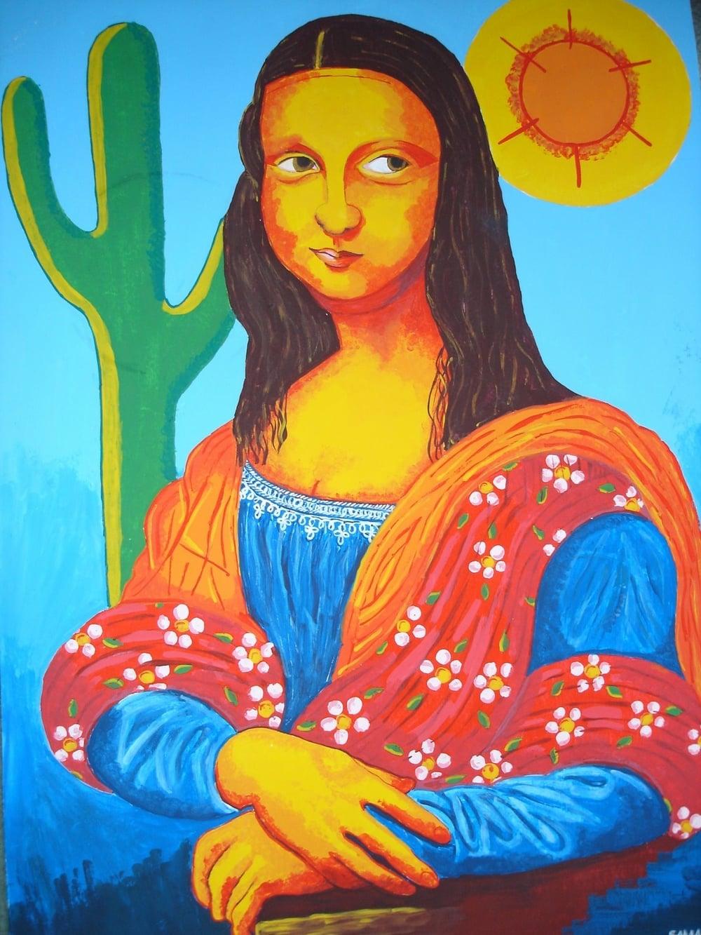 8 - Mona Lisa brasileira, com elementos da obra  'Abaporu'  de Tarsila do Amaral