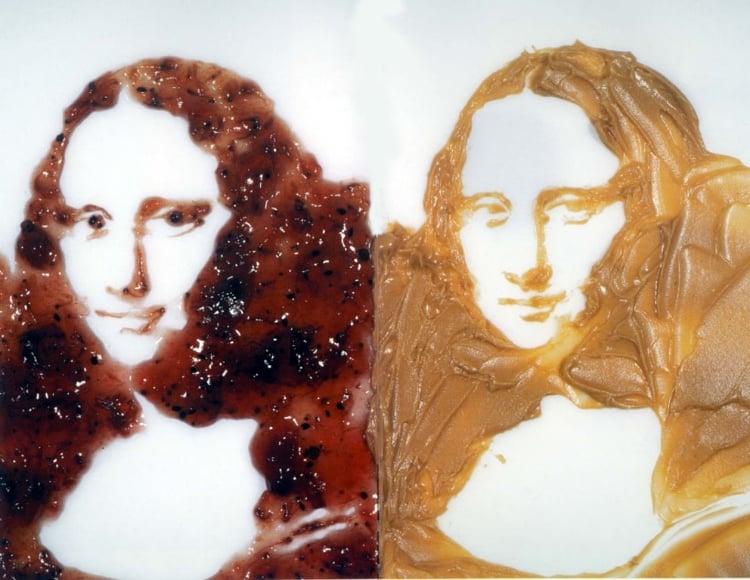 12 - O artista brasileiro Vik Muniz produziu a Mona Lisa com geleia e creme de amendoim