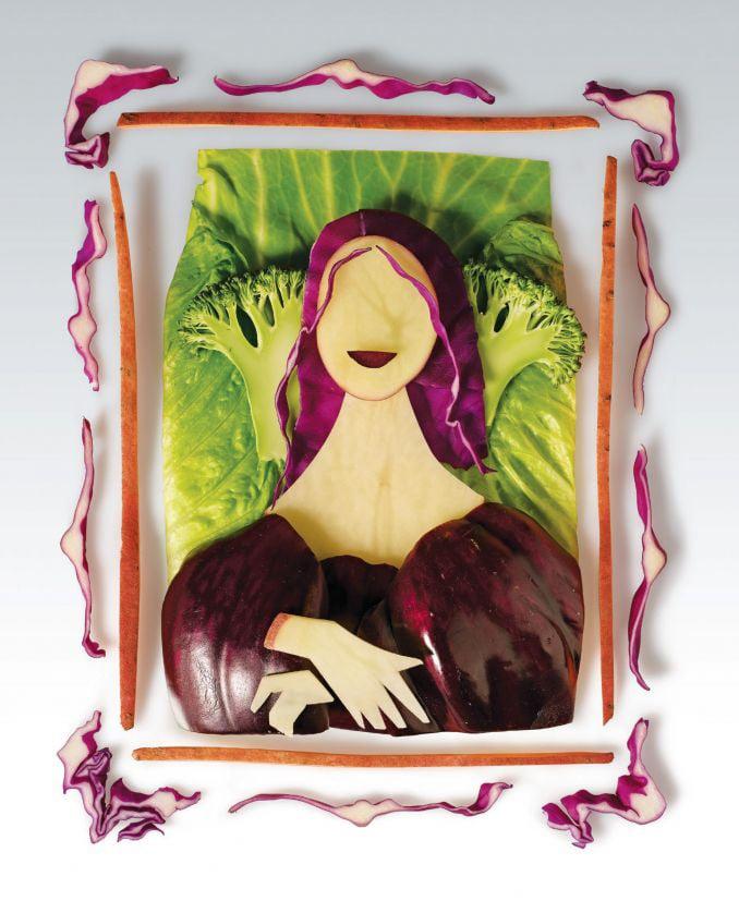 13 - Mona Lisa feita com legumes