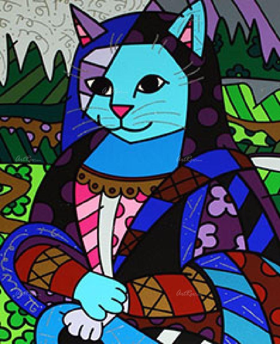 14 - E até Romero Britto transformou a Mona Lisa em  'Monacat'