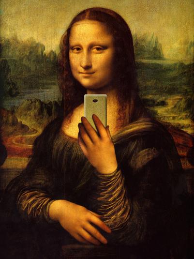 17 - Mona Lisa arrasando naquela  selfie  em frente ao espelho, na arte de Antonio Carlos Pasqualin