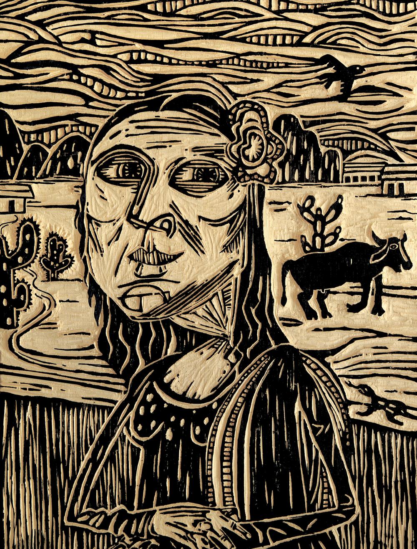 21 - Mona Lisa sertaneja, em estilo xilogravura, da Alopra Estúdio