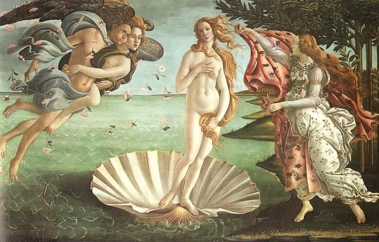 O Nascimento de Vênus  (1485), de Botticelli, é uma das principais obras da arte renascentista