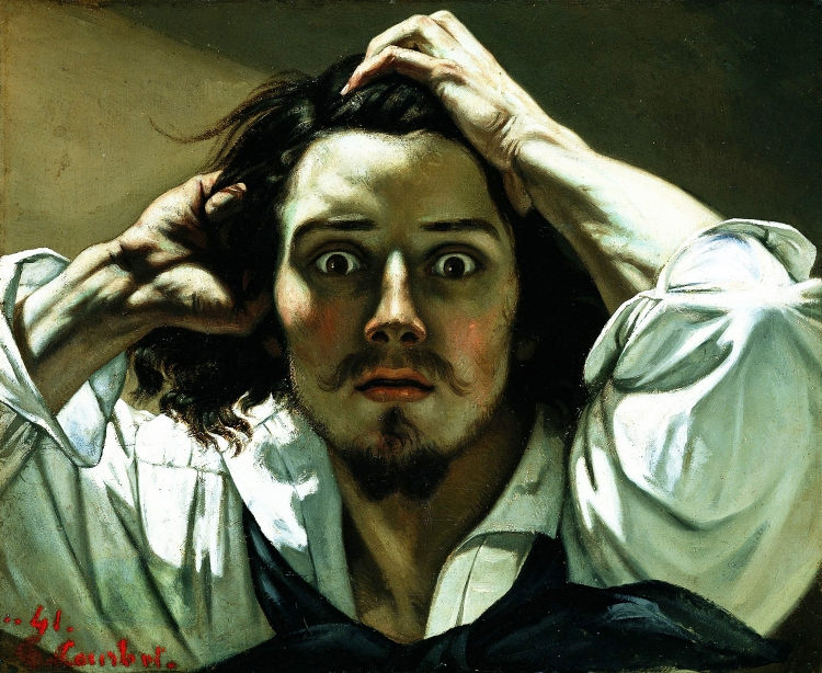 O Homem Desesperado  (1843), de Gustave Courbet, que foi um dos pioneiros do estilo realista
