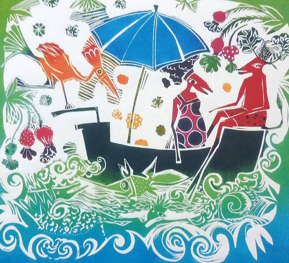 A artista introduz elementos folclóricos em sua obra, sempre com cores vivas, usando a técnica da xilogravura.