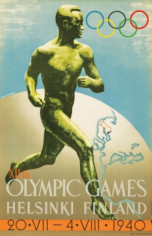 1940 - Hensinque também não conseguiu sediar os jogos em 1940, mas a arte do cartaz foi reaproveitada em 1952