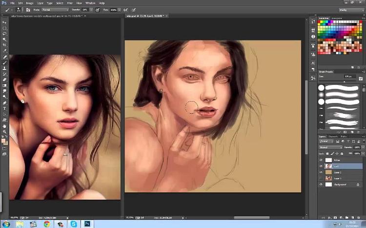 A área de trabalho do software Photoshop representa digitalmente um ateliê de arte, com ferramentas comuns a qualquer artista plástico